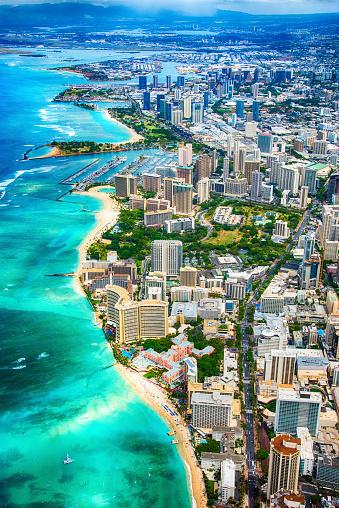 オアフ島「上から美しいホノルル ハワイ」:スマホ壁紙(10)
