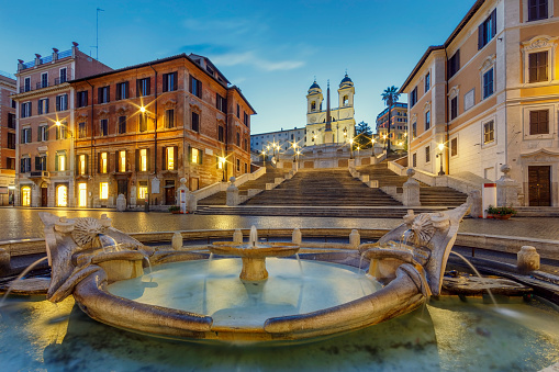 Roman「Baraccia Fountain and Spanish Steps in Spanish Square, Rome, Italy」:スマホ壁紙(7)