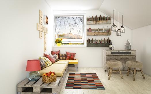 Plaid「Cozy and Rustic Interior Design (Day)」:スマホ壁紙(12)