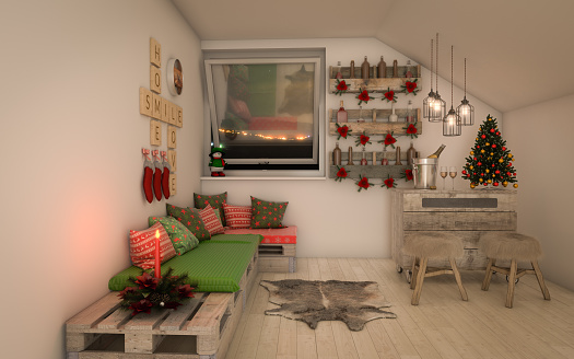 Stool「Cozy and Rustic Interior Design (Christmas Theme)」:スマホ壁紙(9)