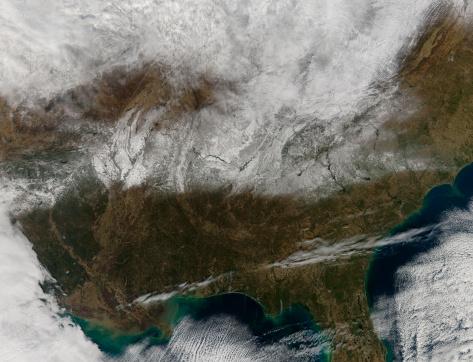雪が降る「Snow cover stretching from northeastern Texas to the Carolinas.」:スマホ壁紙(19)