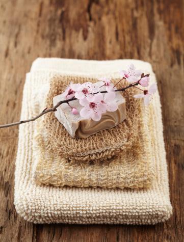 Feng Shui「Spa still life stacked washcloths and a bar of soap」:スマホ壁紙(6)