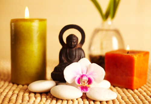 Health Spa「Spa still life buddha statue and candles, orchid flower」:スマホ壁紙(2)