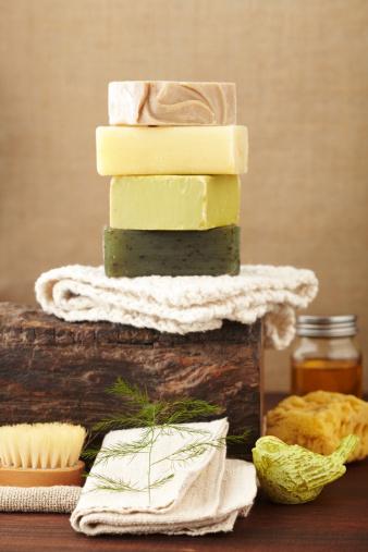 Feng Shui「Spa still life stacked bars of soap,brush,washcloth,sponge」:スマホ壁紙(3)