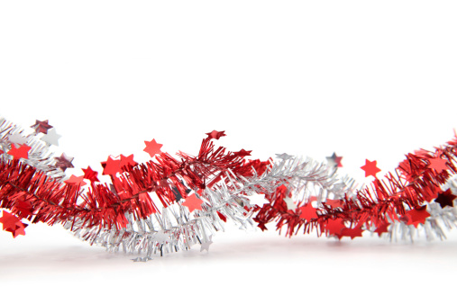 Tinsel「Red and silver tinsel with stars, isolated」:スマホ壁紙(4)