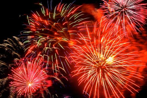 花火大会「Firework display on 4th of July at night」:スマホ壁紙(1)