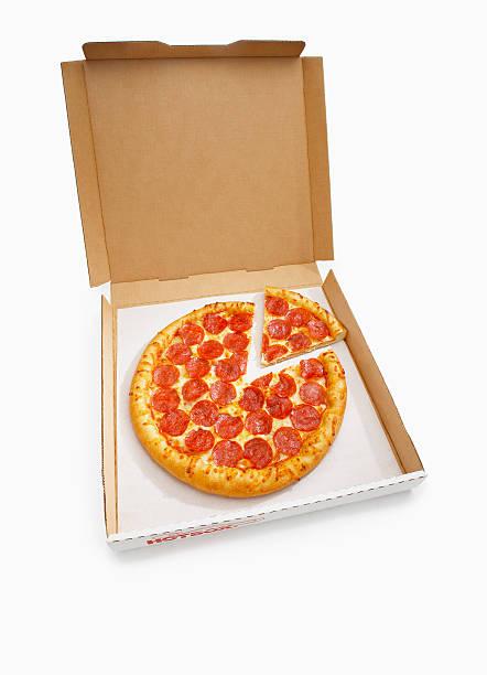 Pepperoni Pizza with slice in box:スマホ壁紙(壁紙.com)