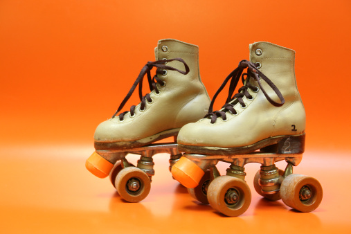 Roller skate「Pair of orange and brown four-wheel rollerblades with laces」:スマホ壁紙(13)