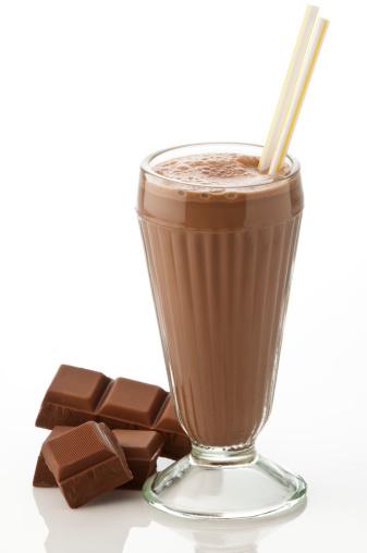 Protein「Glass of chocolate milkshake with chocolate chunks on white」:スマホ壁紙(3)