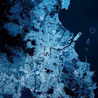 Queensland「Brisbane Australia 3D Render Map Blue Top View Sept 2019」:スマホ壁紙(3)