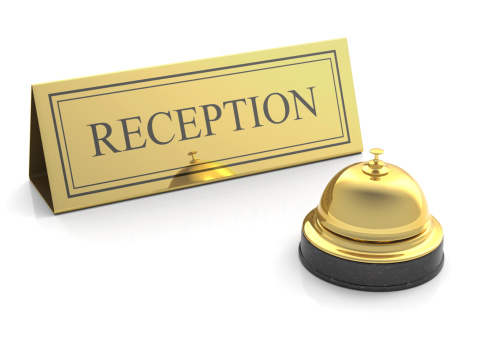 Hotel Reception「gold service bell at reception on white」:スマホ壁紙(7)