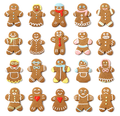 Sweet Food「Isolated Gingerbread People Collection Assortment」:スマホ壁紙(10)