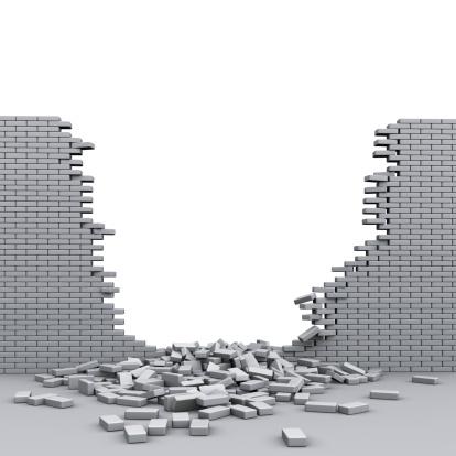 Brick Wall「A destroyed brickwall with broken bricks」:スマホ壁紙(2)
