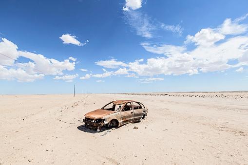 Deterioration「Abandoned car wreck sitting in Namib Desert, Swakopmund, Erongo Region, Namibia」:スマホ壁紙(16)