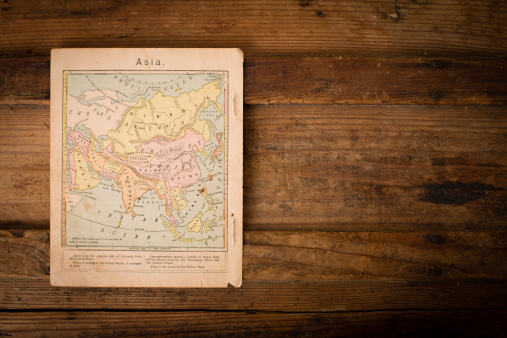 Sepia Toned「1867, Old, Color Map of Asia, With Copy Space」:スマホ壁紙(9)