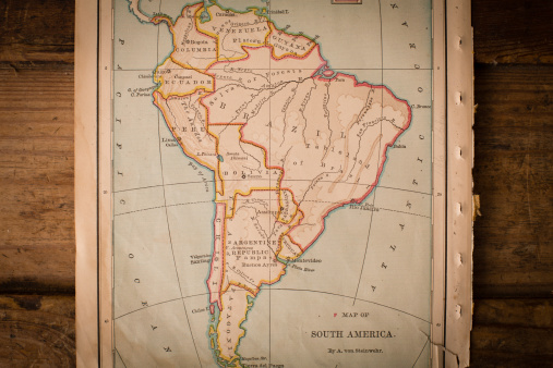 19th Century「Old Color Map of South America, From 1800's, on Wood」:スマホ壁紙(0)