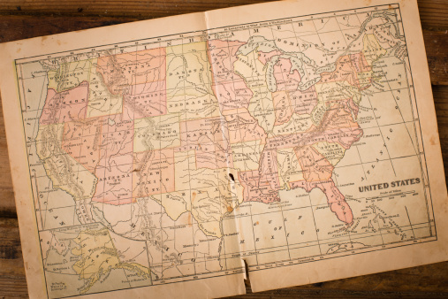 19th Century「1867, Old, Color Map of United States, Sitting on Wood」:スマホ壁紙(5)