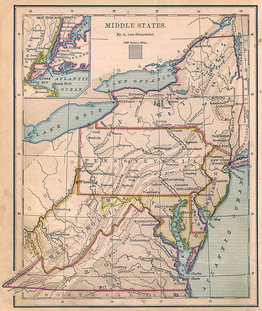 Old, Color Map of Middle (United) States From 1870:スマホ壁紙(壁紙.com)