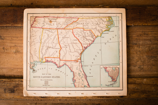 Sepia Toned「Old, Color Map of South Eastern States, Sitting on Trunk」:スマホ壁紙(2)