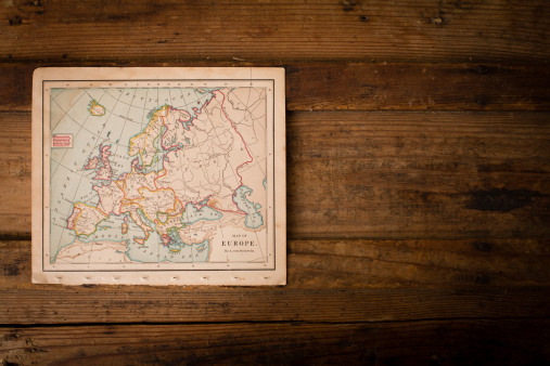 France「Old Color Map of Europe, From 1800's, With Copy Sapce」:スマホ壁紙(15)