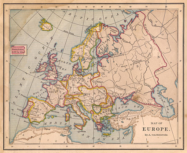 Old Color Map of Europe, From 1800's:スマホ壁紙(壁紙.com)