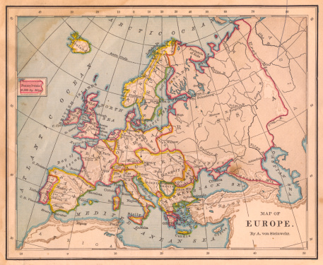 19th Century「Old Color Map of Europe, From 1800's」:スマホ壁紙(3)