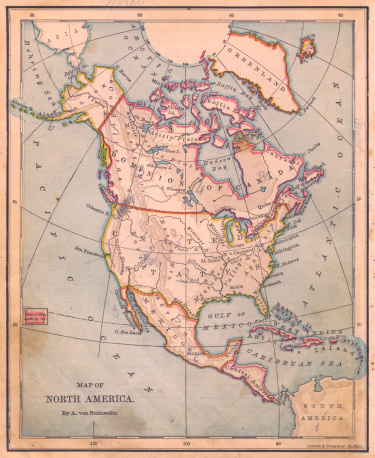 Historical Document「Old, Color Map of North America, From 1870」:スマホ壁紙(5)