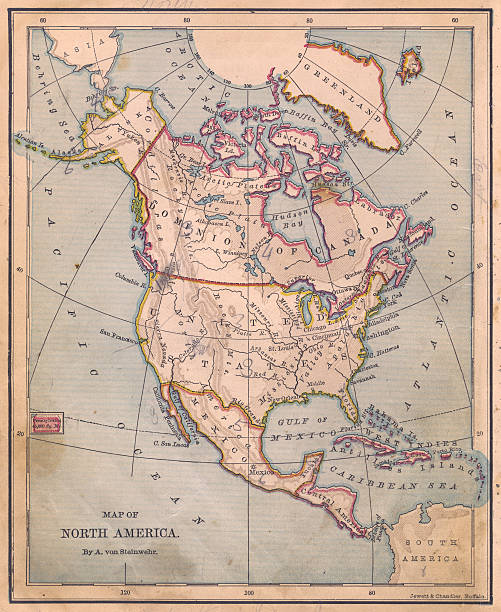 Old, Color Map of North America, From 1870:スマホ壁紙(壁紙.com)