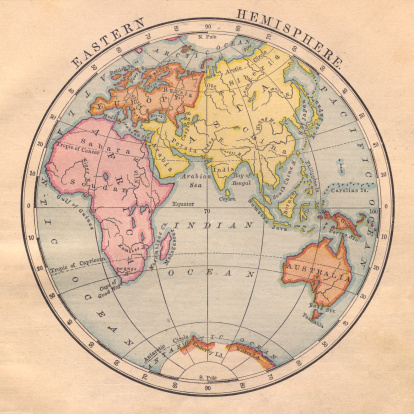 Sepia Toned「Old, Color Map of the Eastern Hemisphere From 1870」:スマホ壁紙(16)