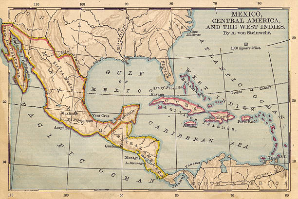 Old Color Map of Mexico and Central America, From 1800's:スマホ壁紙(壁紙.com)