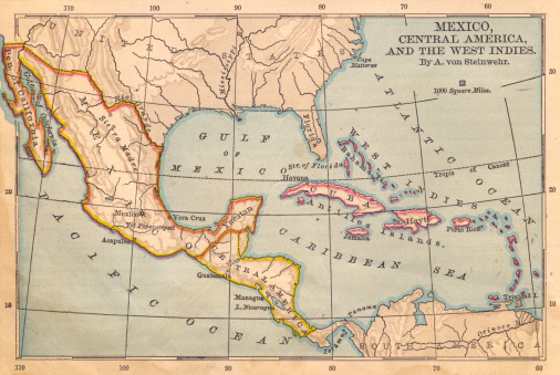 Latitude「Old Color Map of Mexico and Central America, From 1800's」:スマホ壁紙(18)