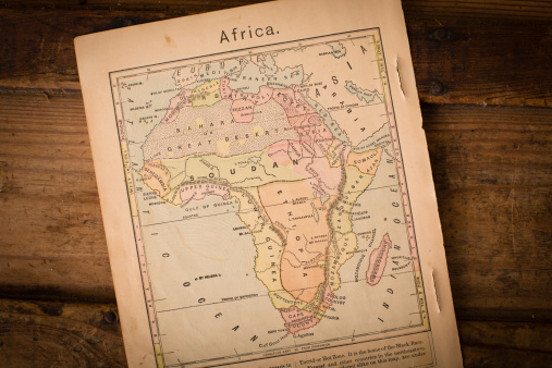 Historical Document「1867, Old Color Map of Africa, on Wood Background」:スマホ壁紙(12)