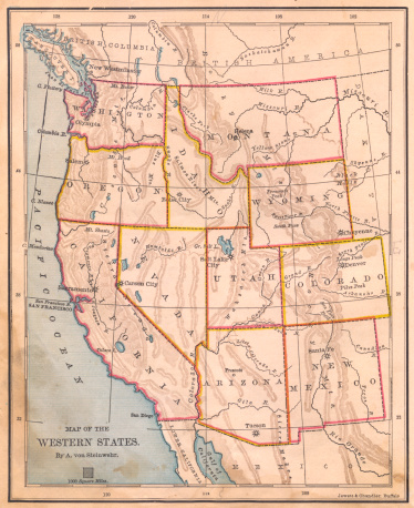 Montana - Western USA「Old, Color Map of Western United States, From 1800's」:スマホ壁紙(8)