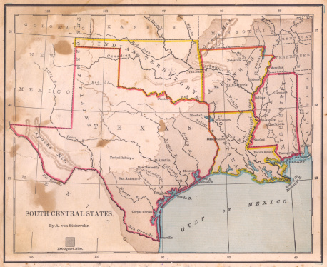 19th Century「Old, Color Map of South Central States, From 1800's」:スマホ壁紙(15)