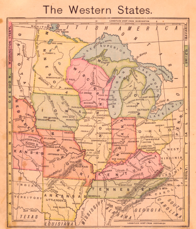 19th Century「1867, Old, Color Map of the Western United States」:スマホ壁紙(0)