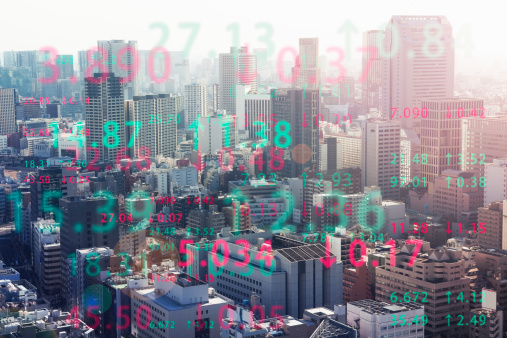 Data「Stock index with cityscape aerial view」:スマホ壁紙(14)
