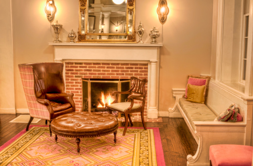 Formalwear「Formal Living room with fireplace and antique furniture - IV」:スマホ壁紙(9)