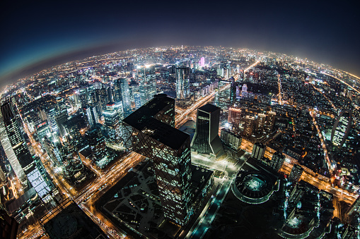 Prosperity「Fisheye and Aerial View of Beijing Skyline at Night」:スマホ壁紙(19)