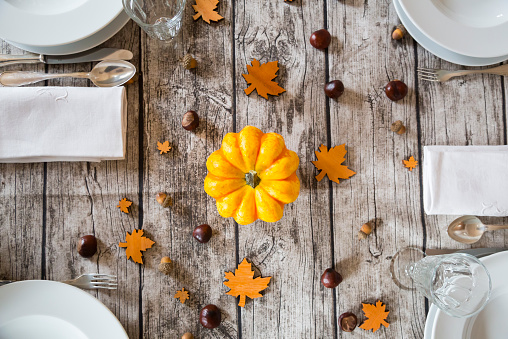 栗「Autumnal laid table with yellow pumpkin」:スマホ壁紙(15)