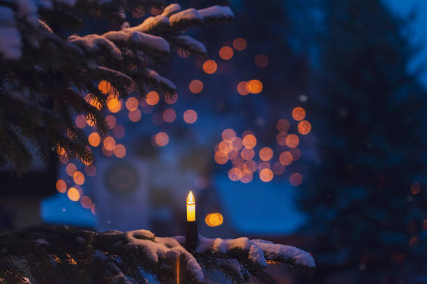 Lighted electric candle on snow-covered fir branch:スマホ壁紙(壁紙.com)