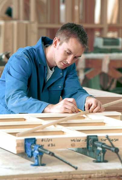 Caucasian Ethnicity「Bench Joinery. Cramping joinery together and checking for square.」:写真・画像(8)[壁紙.com]