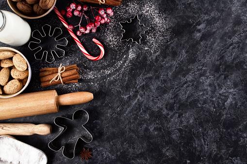 Candy Cane「Holiday Baking Ingredients Background」:スマホ壁紙(19)