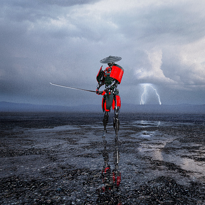 Battle「Samurai robot stands with sword in storm」:スマホ壁紙(19)