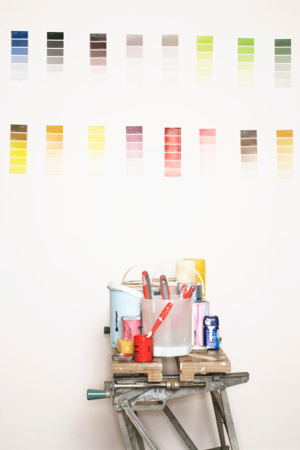 Color Swatch「Painting equipment on workbench, colour charts on wall」:スマホ壁紙(19)