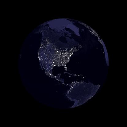 Latitude「Earth globe north America lights」:スマホ壁紙(9)