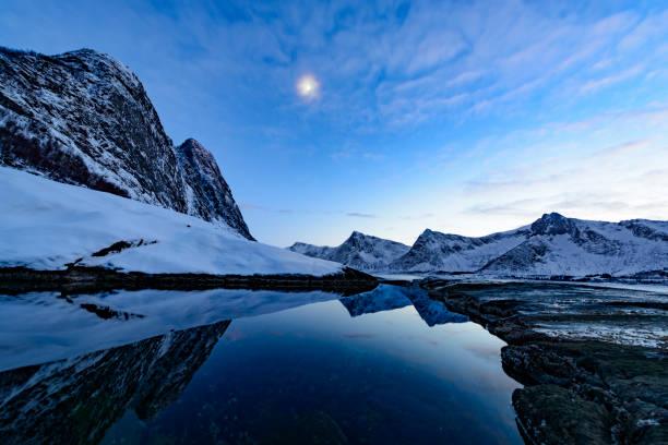 Nightfall  over Okshornan mountain range in Northern Norway in winter:スマホ壁紙(壁紙.com)