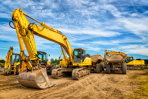 Construction Equipment「Road construction machinery on the construction of highway」:スマホ壁紙(5)