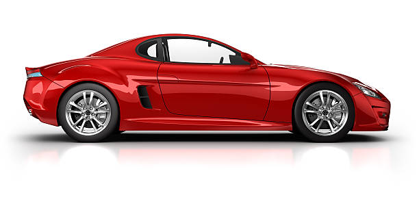Red sports car on white surface with clipping path:スマホ壁紙(壁紙.com)