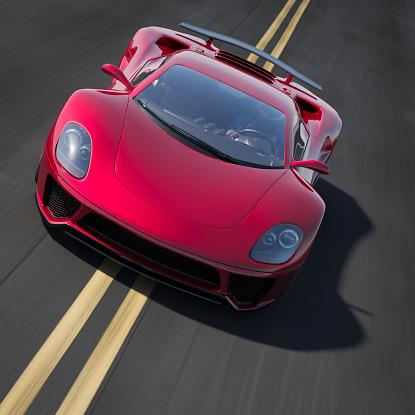 Sports Car「Red sports car driving on a road」:スマホ壁紙(3)