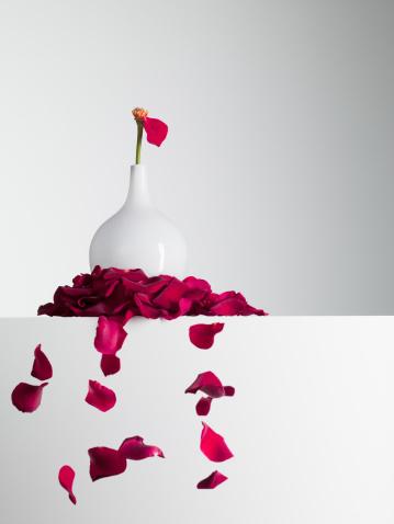 薔薇「レッドの花びらのステムに花瓶から落ちる」:スマホ壁紙(7)